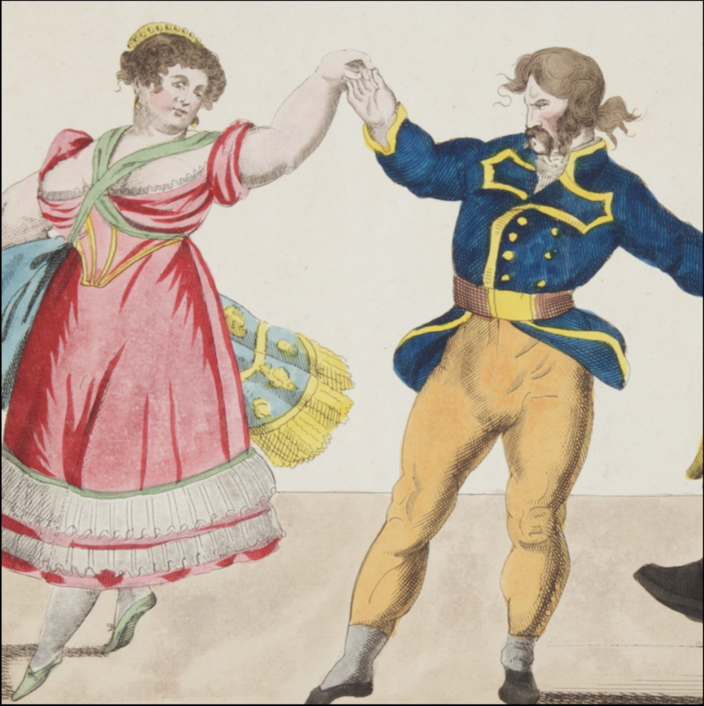 humorous colored engraving of 19th century couple dancing