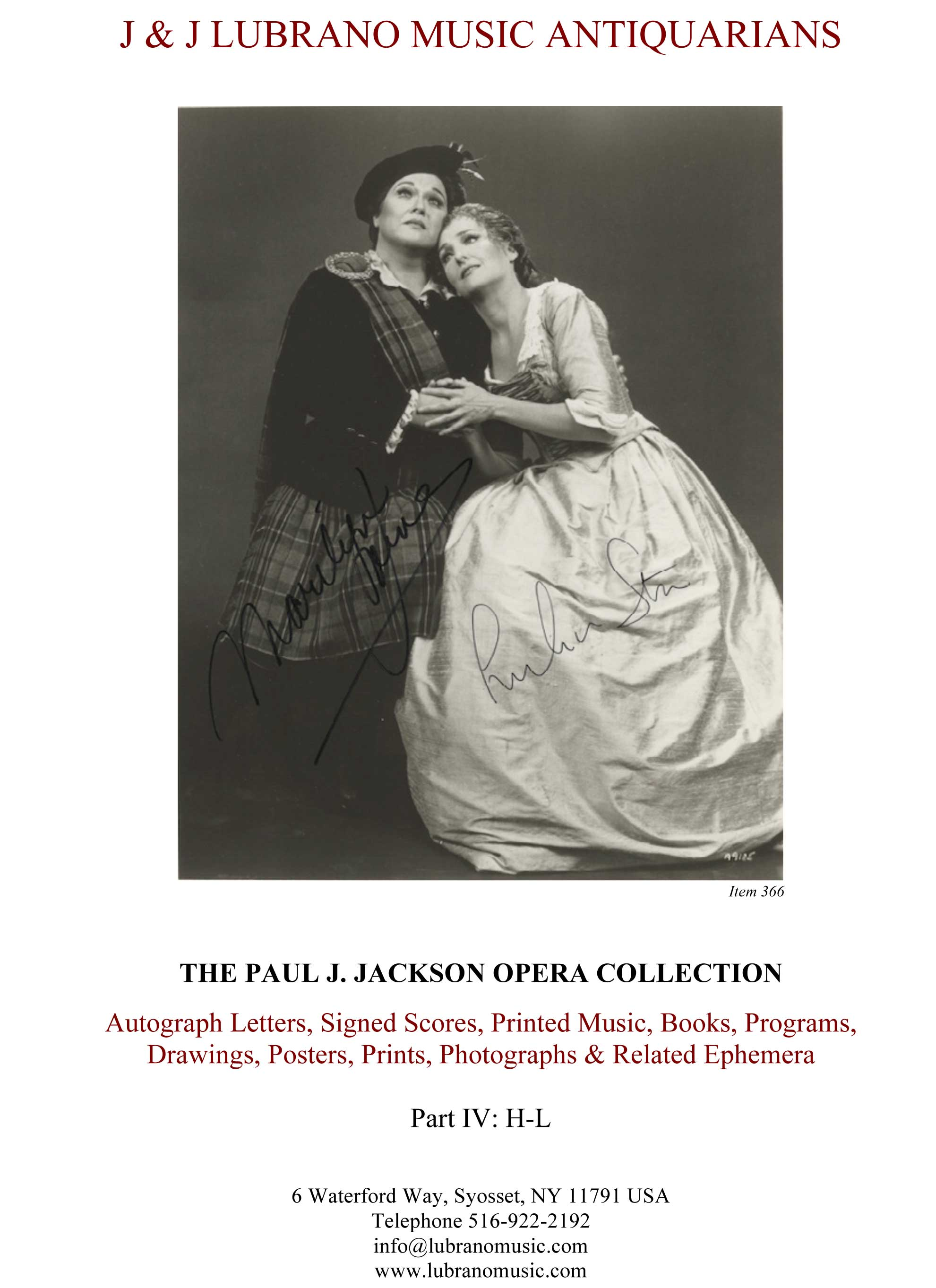 THE PAUL J. JACKSON OPERA COLLECTION - Part IV: H-L
