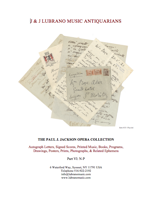 THE PAUL J. JACKSON OPERA COLLECTION - Part VI: N-P