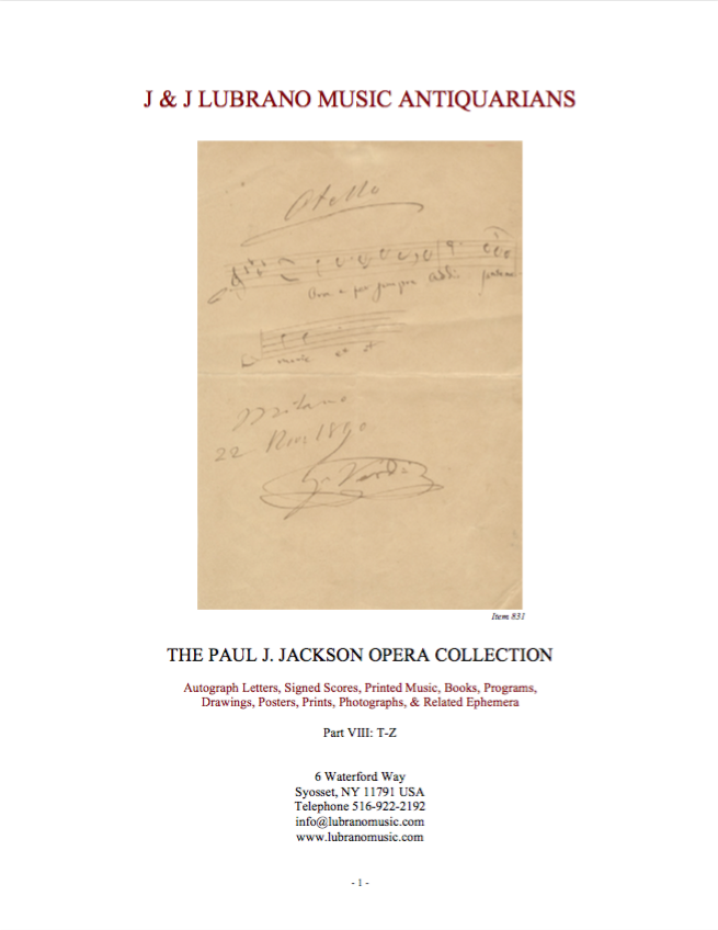 THE PAUL J. JACKSON OPERA COLLECTION - Part VIII: T-Z