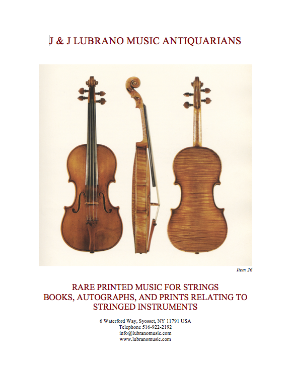 RARE PRINTED MUSIC FOR STRINGS & BOOKS, AUTOGRAPHS, AND PRINTS RELATING TO STRINGED INSTRUMENTS