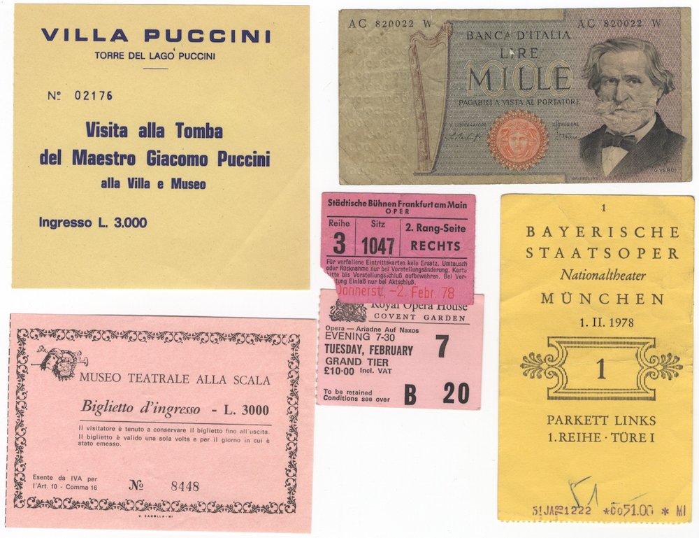 B Und B Italia München small of 8 ephemeral items including ticket stubs for