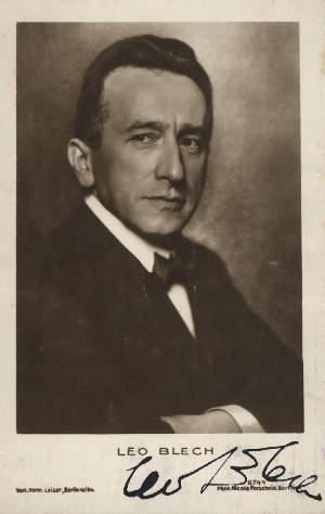 Head-and-shoulders postcard photograph of the noted German conductor and composer signed. Leo BLECH.
