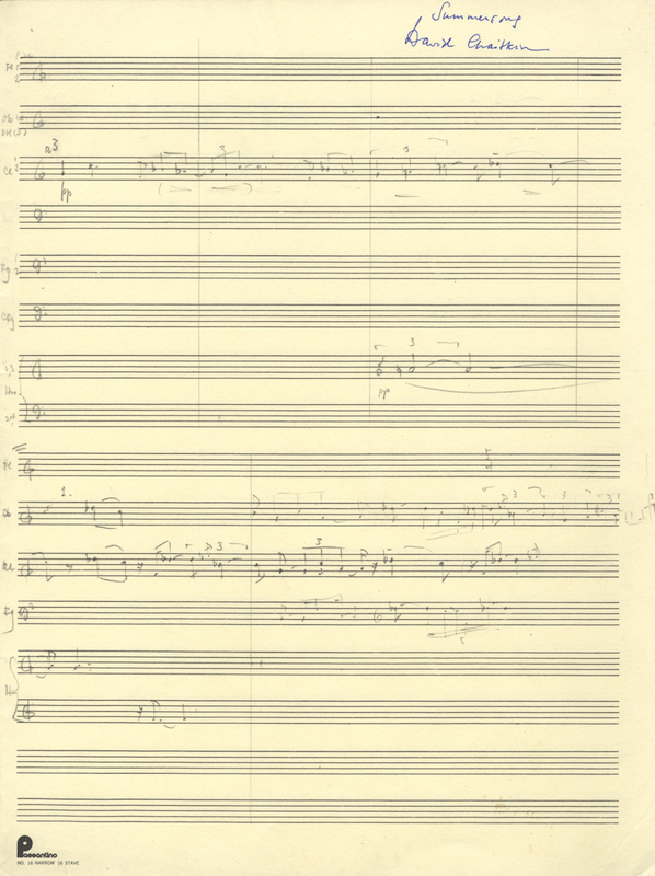 Summersong [Autograph sketchleaf in full score]. David CHAITKIN.
