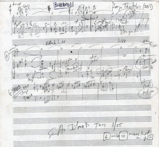 Bluebird, a setting for two female voices with instrumental accompaniment of Herman Melville's poem. Autograph musical manuscript. Signed and dated 2007. A complete working draft. George 1951- TSONTAKIS.