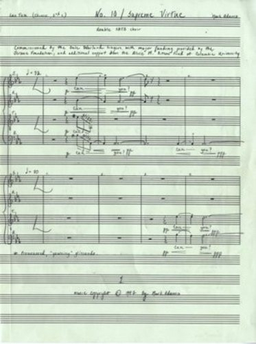 No. 10 / Supreme Virtue for double SATB choir. Autograph musical manuscript of the complete full score. Mark b. 1962 ADAMO.