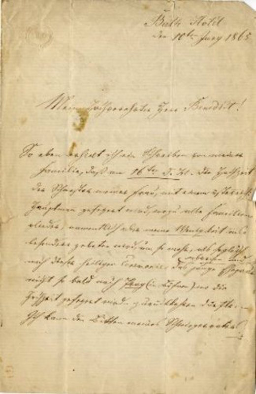 "Autograph letter signed to ""My esteemed Mr. Benedict"" [most probably the conductor Sir Julius Benedict 1804-1885]. Jan Krtitel PISEK."