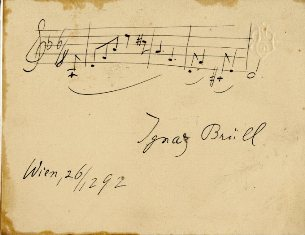Autograph musical quotation signed and dated Vienna, December 26, 1892. Ignaz BRÜLL.