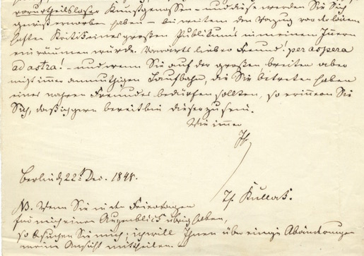 Autograph letter signed to an unidentified friend and fellow composer. Theodor KULLAK.