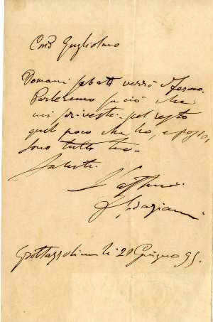 Group of 4 letters consisting of three autograph letters and one secretarial letter signed, all addressed to Count Guglielmo Vinci. Francesco GRAZIANI.