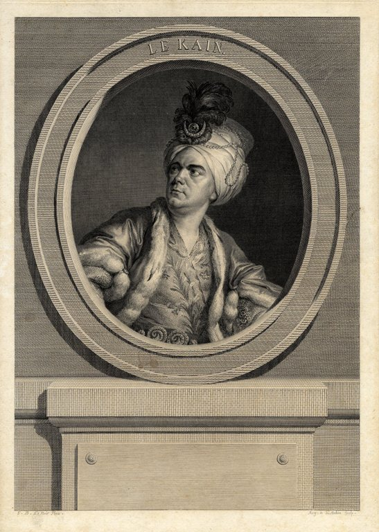 Original engraving by Auguste de St.-Aubin after the painting by S.B. Le Noir. THEATRE, Henri Louis Le Kain.