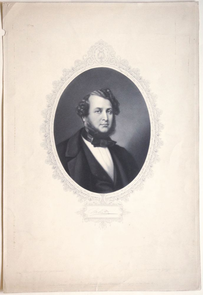Fine mezzotint portrait engraving by George Zobel after the photograph by Caldesi. Sir Michael COSTA.