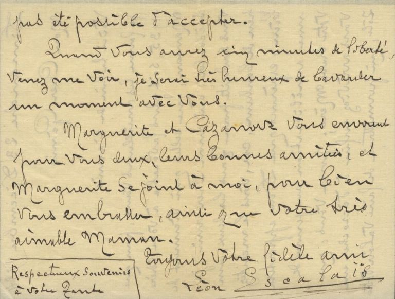 Autograph letter signed to Monsieur Génio at the Opéra Comique in Paris. Léon ESCALAÏS.