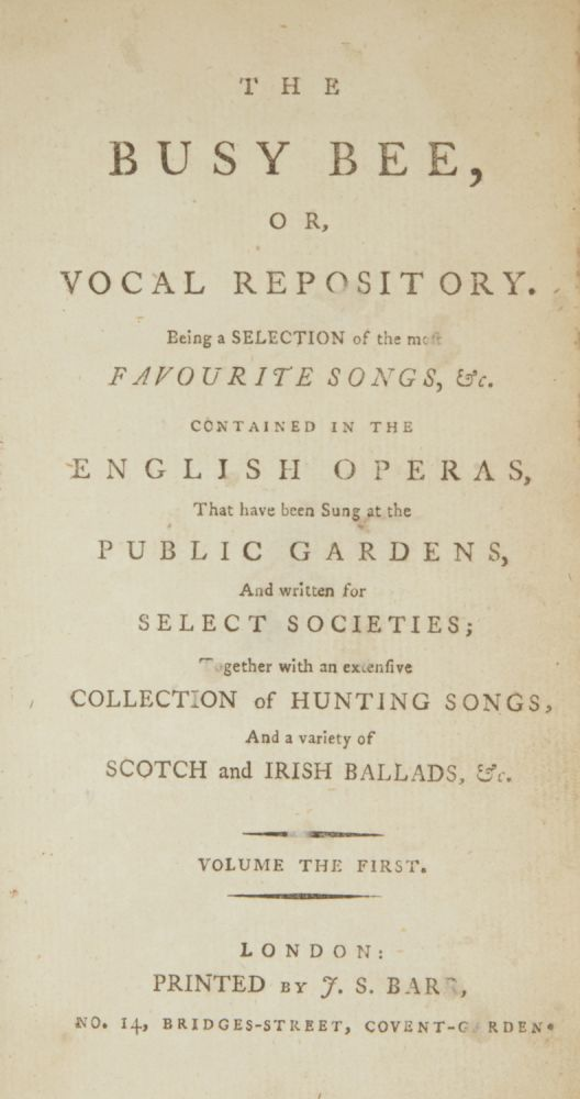 The Busy Bee, or Vocal Repository. VOCAL MUSIC.