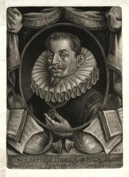 "Fine bust-length mezzotint portrait of the composer in formal dress within a draped border incorporating musical instruments and books. Signed by the artist ""G.F."" [George Fennitzer] in the plate. Christoph BUEL."