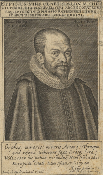 Half-length portrait engraving of this Alsatian composer, teacher and choral director, aged 57, by Jacob van den Heyden. Christoph Thomas WALLISER.