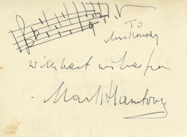 Autograph musical quotation signed in full. Mark HAMBOURG.