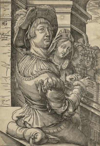 Young man playing a psaltery (salterio) accompanying a group of singers. Woodcut after a drawing by Hendrick Goltzius (1558-1617). Christof van SICHEM.