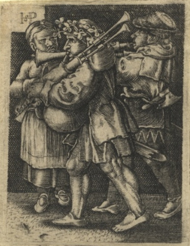 Fine 16th century German engraving after Hans Sebald Beham (1500-1550) depicting two male musicians intently playing the bagpipes and shawm or bombard while a woman looks on. MUSICAL INSTRUMENTS.