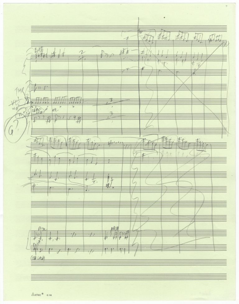 Thurber's Dogs. Suite for Orchestra after Drawings by James Thurber. Movement VI: Hunting Hounds. Autograph musical manuscript sketches in condensed score of almost the entire final movement of the work, consisting of music for sections B-N, i.e., pp. 111-137 of the published full score. Peter b. 1935 SCHICKELE.