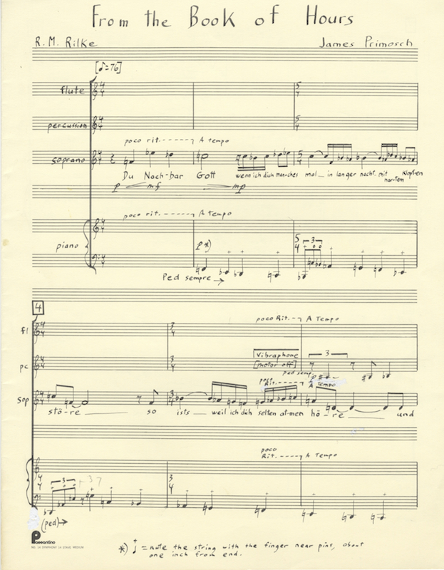 """From the Book of Hours."" Autograph musical manuscript signed, ca. 1994. Full score of an early chamber version of the first movement of the song cycle. James b. 1956 PRIMOSCH."