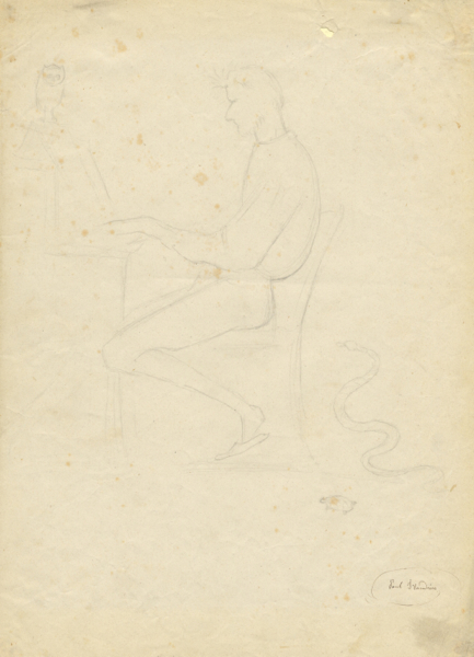 Original pencil sketch by the French artist Paul Jean Flandrin (1811-1902). Ambroise THOMAS.