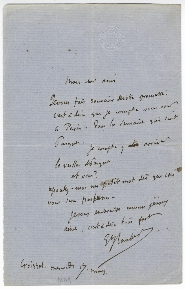 """Autograph letter signed (""""G Flaubert) to """"Mon cher ami,"""" most likely the distinguished Russian author Ivan Turgenev. Gustave FLAUBERT."""