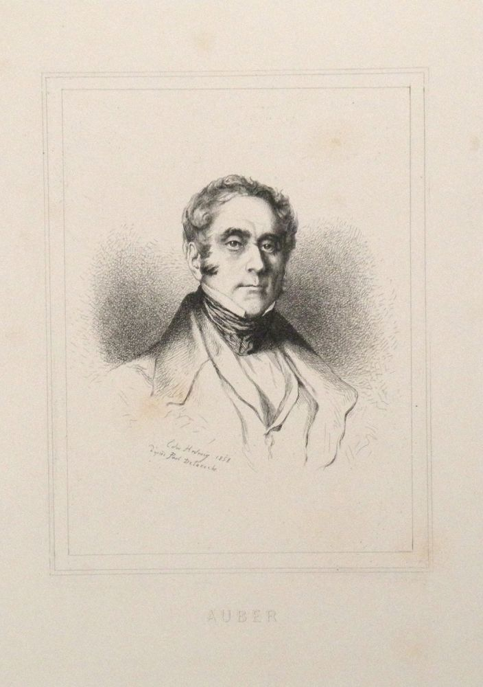 Portrait etching by Edmund Hédouin (1820-1889) after Paul Delaroche (1797-1856), bust-length. Daniel-François-Esprit AUBER.