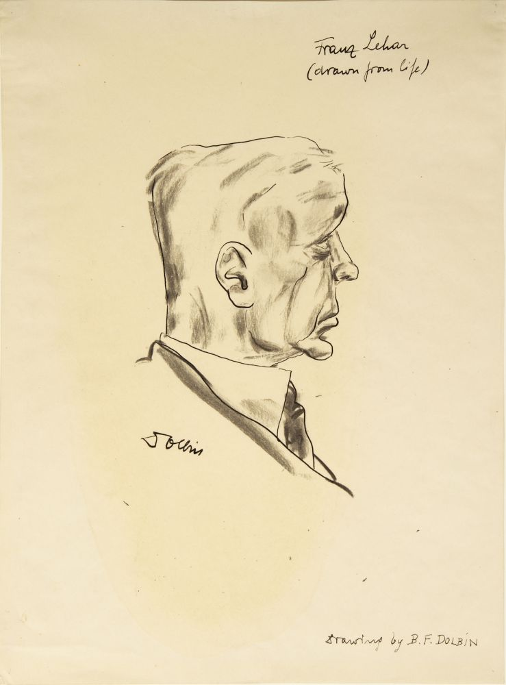 """Fine original portrait drawing by Benedikt Dolbin (1883-1971), titled by the artist """"Franz Lehár (drawn from life)"""" and signed by Dolbin just below the portrait. Franz LEHÁR."""