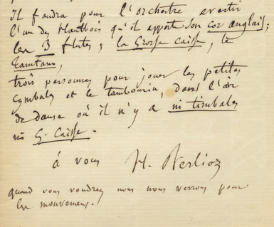 """Autograph letter signed """"H. Berlioz,"""" possibly to Georges Hainl, conductor of the Paris Opéra. Hector BERLIOZ."""