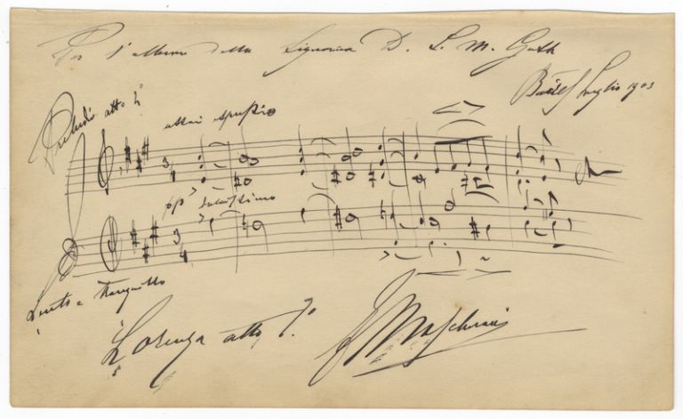 "Autograph musical quotation signed ""E Mascheroni"" from his opera Lorenza. Edoardo MASCHERONI."