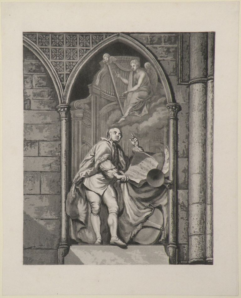 Full-length aquatint engraving by Franz Hegi (1774-1850) after the sculpture by Louis François Roubillac in Westminster Abbey. George Frideric HANDEL.