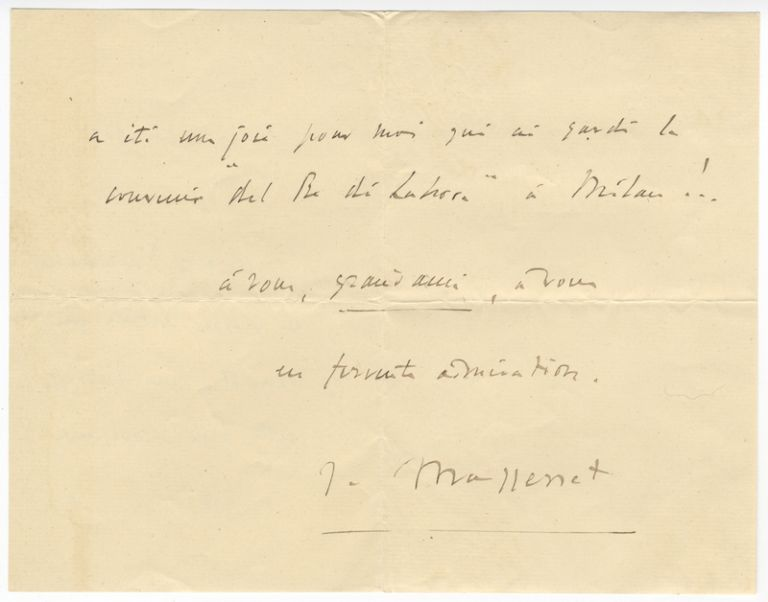 "Autograph letter signed ""J. Massenet,"" mostly probably to the tenor Francesco Tamagno dated August 17, 1902. Jules MASSENET."