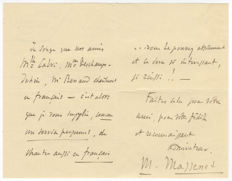 "Autograph letter signed ""M. Massenet,"" most probably to the tenor Francesco Tamagno. Jules MASSENET."