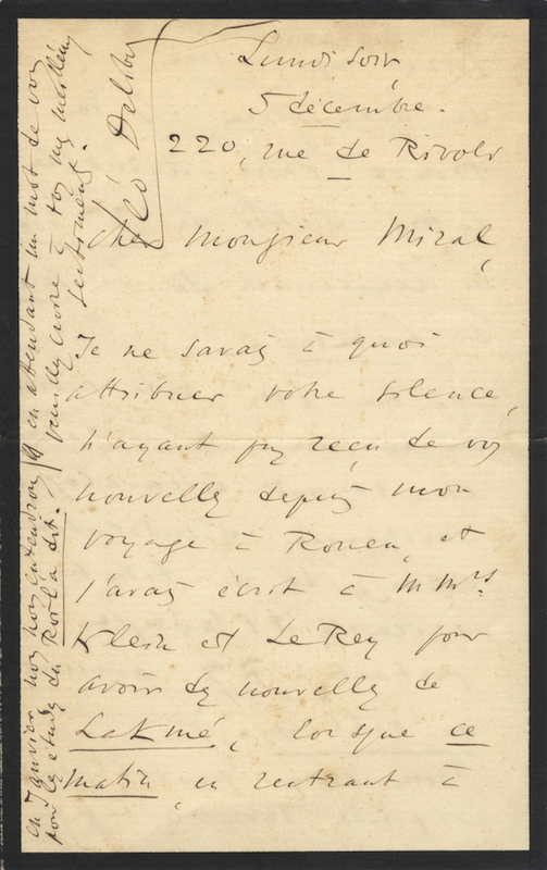 Autograph letter signed to Monsieur Miral. Léo DELIBES.