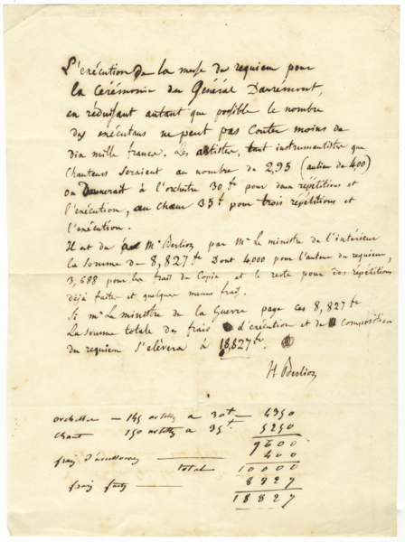 """Important autograph document signed """"H. Berlioz"""" detailing costs for the first performance of the Requiem, op. 5, ca. 1837. Hector BERLIOZ."""