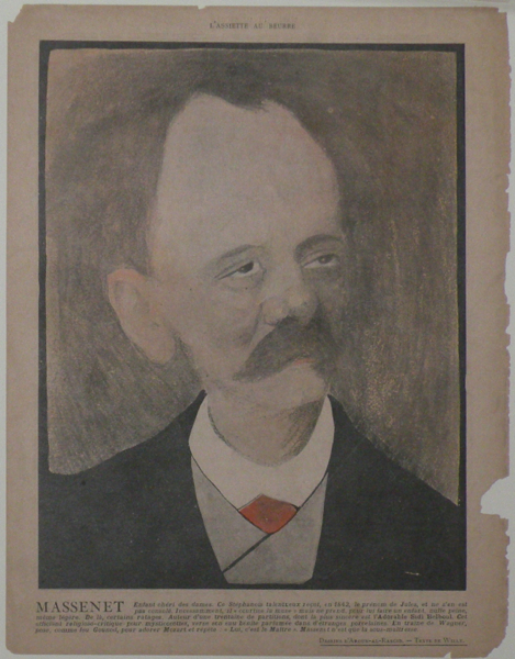Portrait caricature by Aroun-al-Rascid [pseud. Umberto Brunelleschi] (1879-1949). Jules MASSENET.