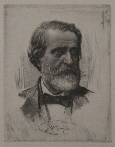 Soft ground bust-length etching by Ferdinand Michl (1877-1951). Giuseppe VERDI.
