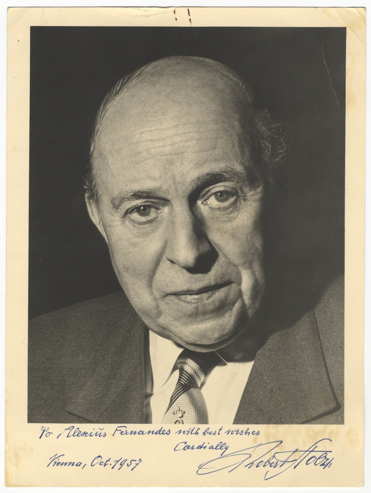 Attractive bust-length photograph of the Austrian composer and conductor in jacket and tie, signed in full, inscribed in dark blue ink to Alexius Fernandes, and dated Vienna, October 1957. Robert STOLZ.