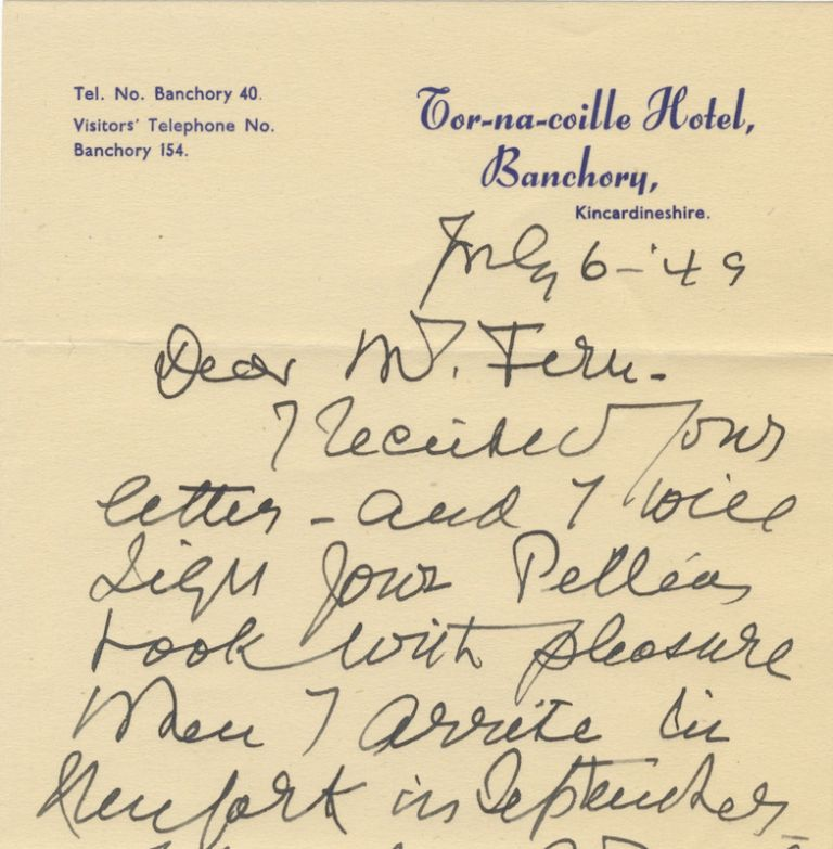 Autograph letter signed in full to [Dale E.] Fern. Mary GARDEN.