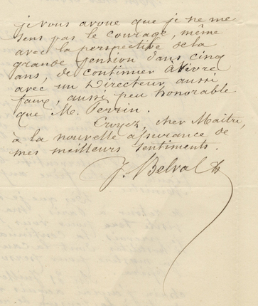 "Two autograph letters signed ""J Belval"" concerning a lawsuit at the Paris Opéra. Jules-Bernard BELVAL."