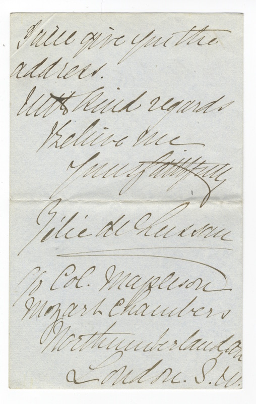 "Autograph letter signed in full to ""Mr. Woolf"" Zélie DE LUSSAN."