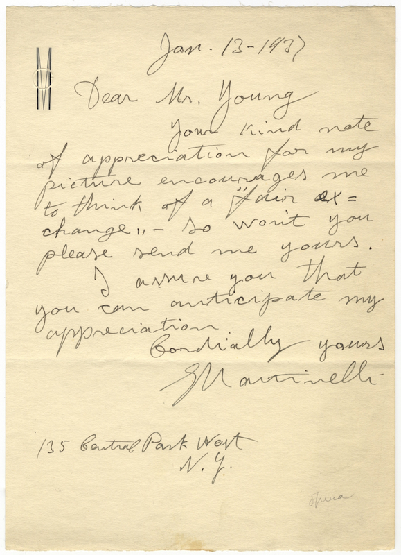 "Autograph letter signed ""G Martinelli"" to Mr. Young dated New York, January 13, 1937. Giovanni MARTINELLI."