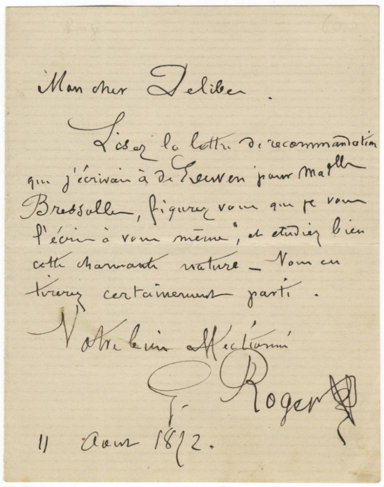 "Autograph letter signed ""G. Roger"" to composer [Léo] Delibes. Gustave-Hippolyte ROGER."