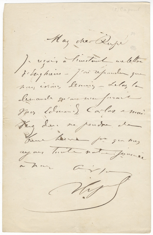 "Three autograph letters signed ""V Capoul"" most probably to composer Georges Rupé. Victor CAPOUL."