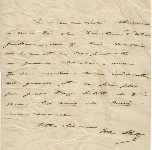 "Autograph letter to ""Mon très cher Directeur"" (most probably François-Joseph Fétis, Director of the Conservatoire), signed in full. Rosine STOLTZ."