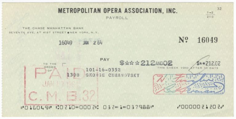 "Autograph signature (""George Cehanovsky"") on verso of a Metropolitan Opera Association check in payment for services rendered. George CEHANOVSKY."