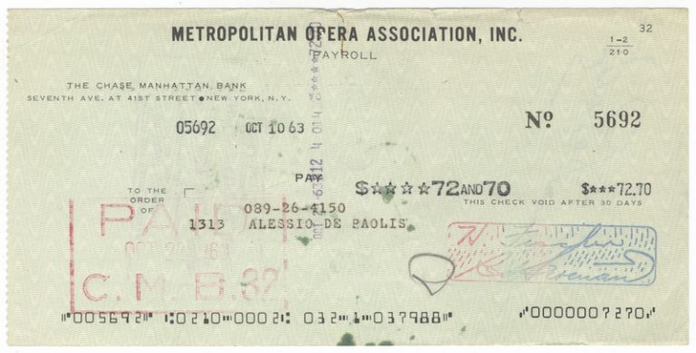 Autograph signature on verso of a Metropolitan Opera Association check in payment for services rendered. Alessio DE PAOLIS.