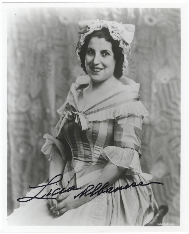Role portrait photograph of the soprano in Mozart's The Marriage of Figaro. Signed in full. Licia ALBANESE.