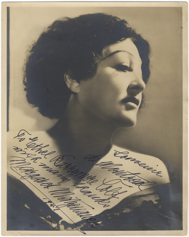 """Bust-length photograph signed in full, dated 1941, and inscribed to actress and singer Ethel Barrymore Colt """"Souvenir de Montreal... with many thanks."""" Margaret MATZENAUER."""